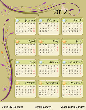 Calendar for the year 2012. UK version with bank holidays included. Vector file saved as EPS AI8, all elements grouped and labeled, no effects, easy print.