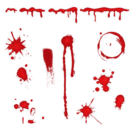 Set of different blood drops, splatter and trail. Isolated over white background. Vector file saved as EPS AI8, all elements layered and grouped, no effects.