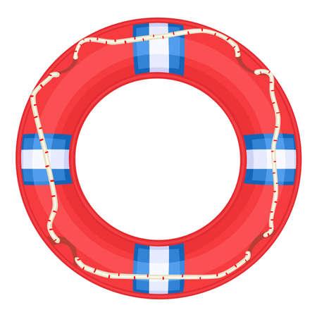 swimming belt: Red Life Buoy isolated over white background.  Illustration