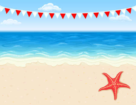 Vacation at tropical beach with white sands and starfish. With copy space.
