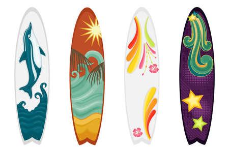 Set di quattro tavole da surf - delfino, temi retrò, ibisco e oceano. Isolato su sfondo bianco. Vettoriali