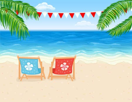Vacation in paradise - tropical beach with white sands and lounge chairs.  Vector