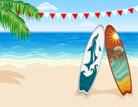 Vacation in paradise - surfing at tropical beach.  Illustration