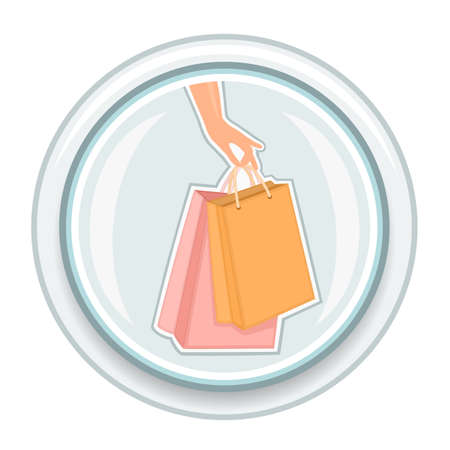 woman holding bag: Button with shopping bags and woman hand. Isolated over white background.