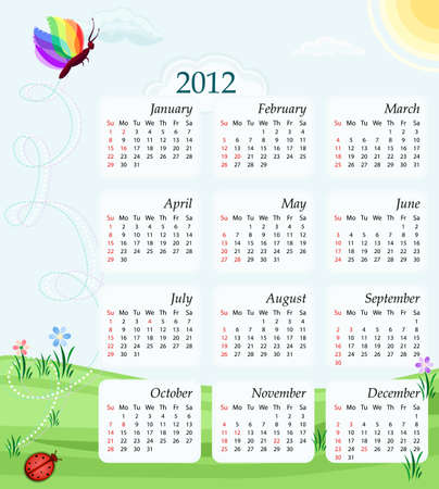Calendar 2012 - USA version - bank holidays included. With butterfly, green meadows and blue sky Vector