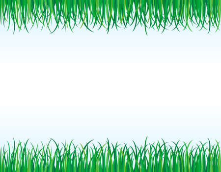 grass blades: Eco friendly - green grass borders. Illustration