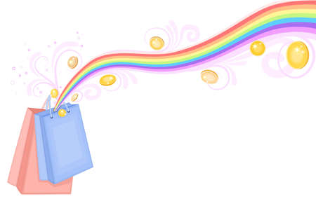 Treasure at the end of the rainbow - shopping bags with gold coins. Isolated over white background.  Vector