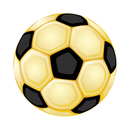 Golden soccer ball. Isolated over white background. Vector file saved as EPS 8, all elements grouped, layered, radial gradients used, no effects.  Vector