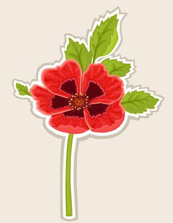 Red poppy flower sticky label
