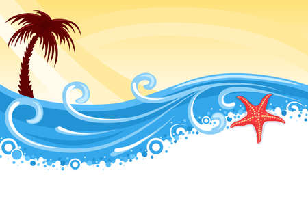 Tropical beach with palm tree, star fish and blue ocean - summer banner Stock Vector - 9804916