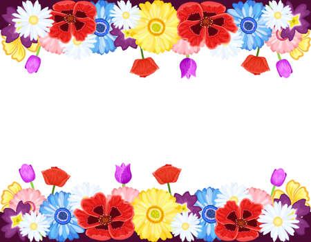 primavera: Fronteras de bellas flores - primavera y verano