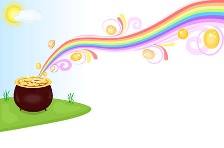 end of rainbow: Financial success - pot of gold at the end of the rainbow. Isolated over white background