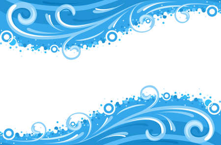fronteiras: Water waves borders - isolated over white background