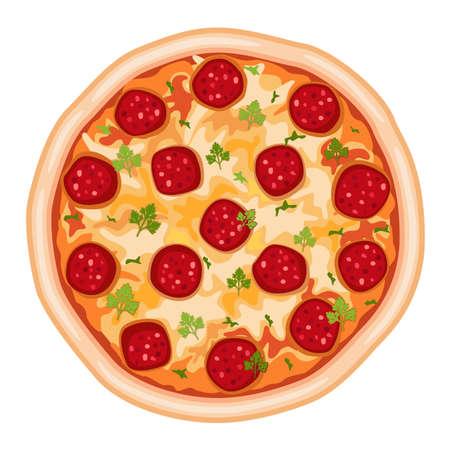 mozzarelle e formaggi: La pizza salame saporito. Isolato su sfondo bianco.
