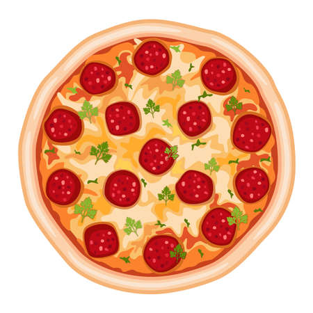 Tasty pizza salami. Isolated over white background.