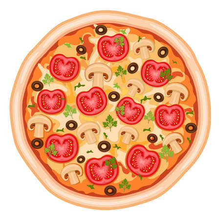 Tasty and healthy - pizza with tomatoes, mushrooms and olives. Isolated over white background.