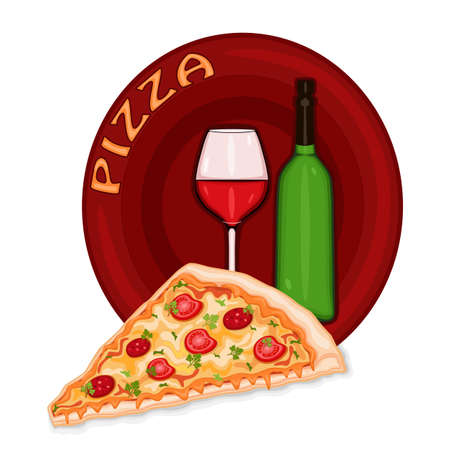 tomato slice: Pizza icon with glass and bottle of red wine.  Illustration