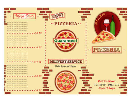 Pizzeria - take away Italian restaurant leaflet. Three fold, standard size A 4. Vector