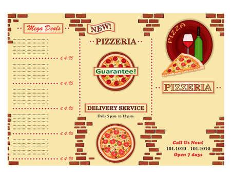 bijsluiter: Pizzeria - weg te nemen Italiaans restaurant bijsluiter. Drie maal, standaard formaat A 4.