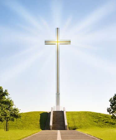 salvation: Shining Christian cross on the stairs to Heaven. The papal cross in Phoenix Park, Dublin, Ireland.