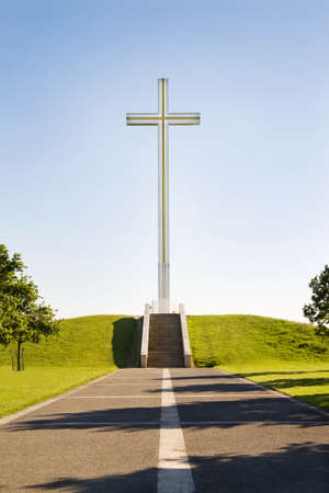 ii: The Papal Cross in Phoenix Park, Dublin, Ireland. It was erected for the visit of Pope John Paul II, in September 1979 and it is a much loved tourist attraction.  Stock Photo