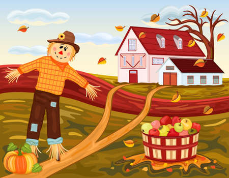 Beautiful autumn landscape at the farm. With cute scarecrow, tasty pumpkin and apples harvest. Vector illustration saved as EPS AI 8, all elements grouped, layered, no effects, easy print.  Vector