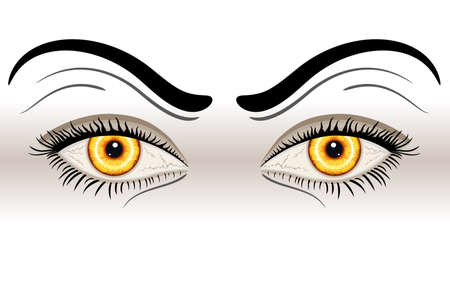 devilish: Yellow Evil Eyes. Isolated over white background.