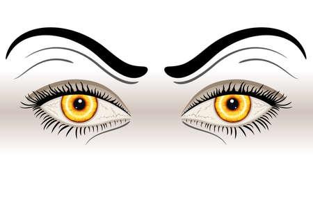 scary eyes: Yellow Evil Eyes. Isolated over white background.