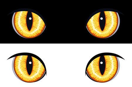 devilish: Set of evil animal eyes. Isolated on black and white backgrounds.  Illustration