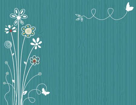 saludo: Azul primavera de tarjetas de felicitaci�n floral. Archivo vectorial guardado como EPS AI8, todos los elementos agrupados en capas, sin efectos, de impresi�n f�cil.