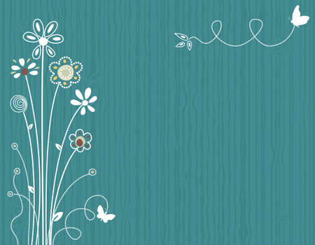 greeting: Blue spring floral greeting card. Vector file saved as EPS AI8, all elements grouped, layered, no effects, easy print.