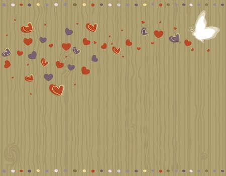 papillon rose: Saint-Valentin - carte de voeux d'amour avec des coeurs et de papillons.