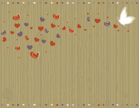 pink butterfly: Valentine Day - love greeting card with hearts and butterfly.