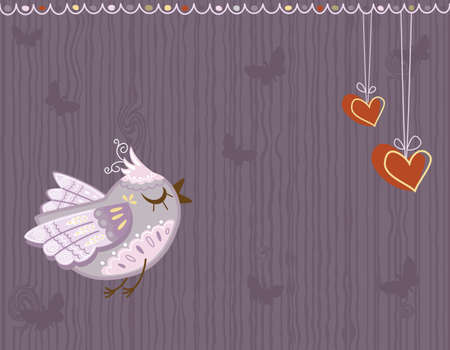 Valentine Day - love greeting card with cute bird singing and hearts.  Vector