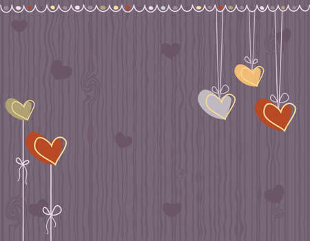 Valentine Day - purple love greeting card with hearts. Vector