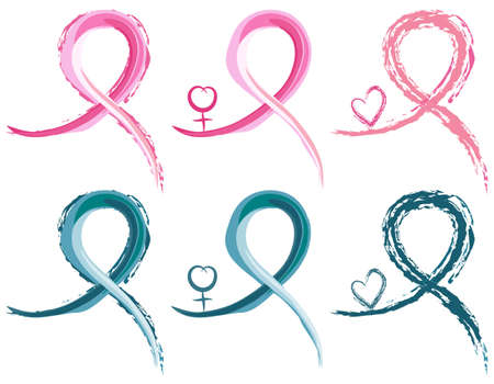 Set of six breast cancer and ovarian cancer ribbons in watercolour. With female gender symbol. Isolated over white backround. Illustration