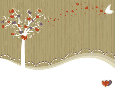 Valentine Day - love greeting card with tree and hearts. Room for your text. Vector file saved as EPS AI8, no gradients, no effects, all elements layered and grouped, easy edit and print.  Vector