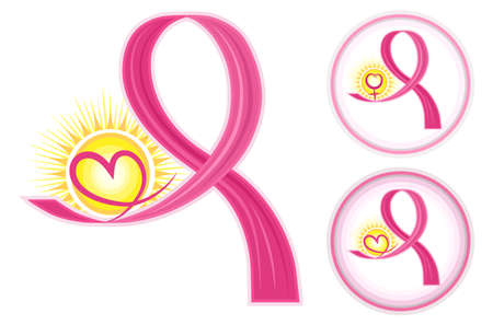 cancer symbol: Esperanza para el c�ncer de mama - conjunto de iconos de cintas de color rosa con el coraz�n y el s�mbolo de sexo femenino. Aislado en blanco backround. Vectores