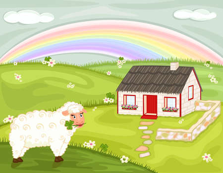Saint Patrick celebration with old thatched Irish cottage, lucky shamrock and cute sheep.  Vector