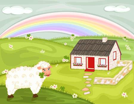 irish landscape: Saint Patrick celebration with old thatched Irish cottage, lucky shamrock and cute sheep.
