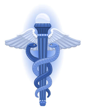 The Caduceus - is a symbol for the Greek God of Commerce and Negotiation, Hermes.  Vector