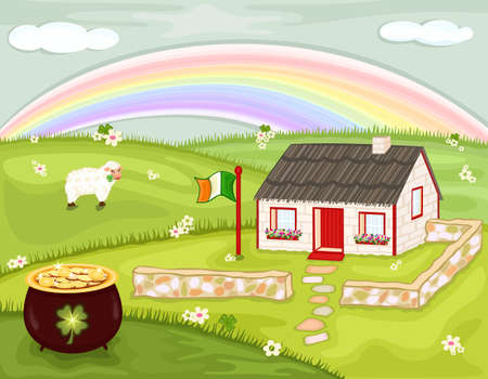 Celebrating Saint Patricks Day with magic rainbow and pot of gold, on the green hills of Ireland.  Vector