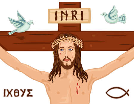 crucified: Religious Easter card with Jesus crucifixion on the Cross  Includes the Greek symbols, the fish and the dove  Isolated over white background.