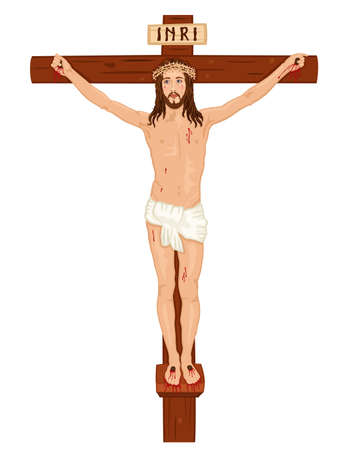 crucified: Religious Easter card with Jesus Christ on the Cross  Isolated over white background. Illustration