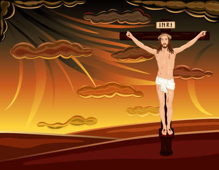 Easter religious card with crucifixion of Jesus on Golgotha hill. Over dramatic sky. Vector illustration saved as EPS AI8, all elements layered, grouped, easy print and edit.  Vector