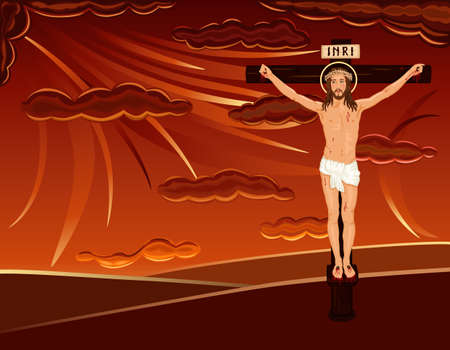 Easter religious card with crucifixion of Jesus on Golgotha hill. Over red dramatic sky. Vector