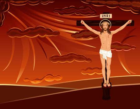 dramatic sky: Semana Santa religiosa tarjetas con la crucifixi�n de Jes�s en el G�lgota colina. M�s espectacular cielo rojo.