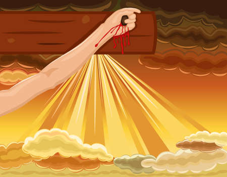 Easter religious card with hand of Jesus nailed to the cross. Over dramatic sky. Vector