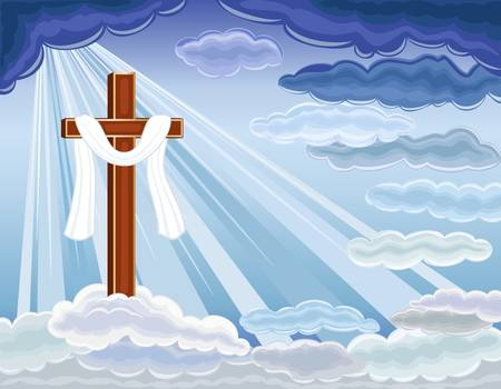 risen: Easter religious card with the resurrection of hope and golden cross. Over blue sky.  Illustration