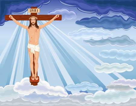 jesus clouds: Crucifixion and resurrection of Jesus Christ on the cross. Over blue sky.
